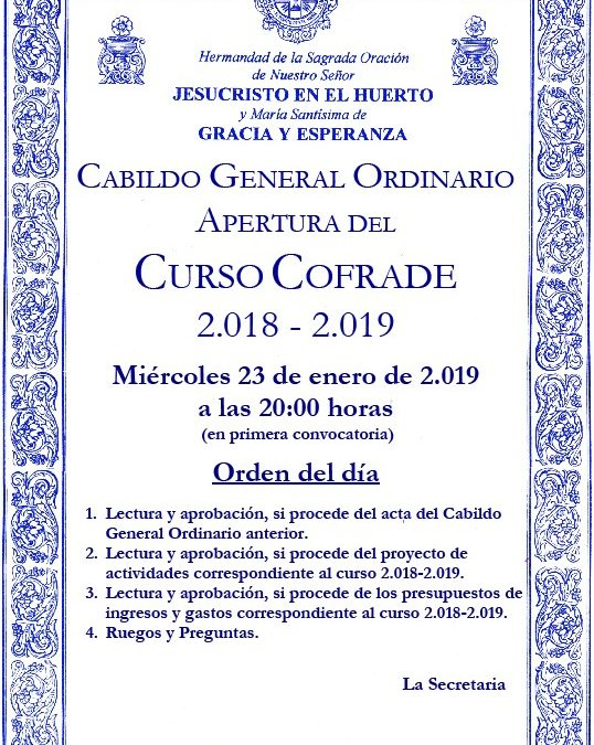 Convocatoria Cabildo General Ordinario de apertura.